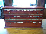 S42 Antique Apothecary Pharmacy Drug Store Wooden Label Cabinet Dispenser