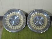 1962 Cadillac Hub Caps 15 Set Of 2 Caddy Wheel Covers Yellow 62 Hubcaps