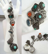 Antique 800 And Sterling Silver Etruscan Carnelian Jade Lapis 6 Charm Fob Bracelet
