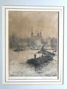 Rowland Langmaid Ra 1897-1956 Signed Etching Barges On Thames And The Tower London