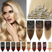 Thick 8pcs Clip In Remy Human Hair Extensions Double Weft Blonde Highlight Uk Ha