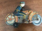 1938 Marx Tin Toy Wind-up Blue Police Motorcycle Siren 7 Made In Usa Parts