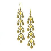 Citrine Briolette And Satin Finish Gold Disc Dangle Earrings In 14k Yellow Gold