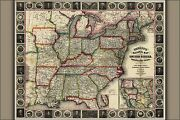 Poster Many Sizes Map Of The United States Of America 1852