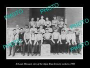 Old 8x6 Historic Photo Of St Louis Missouri Alpen Brau Brewery Aorkers C1900