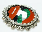 Sterling Silver Marcasite Cameo Jasper Malachite Inlay Red Hat Deco Brooch Pin