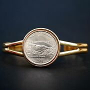 Us 2005 West Virginia State Quarter Coin Gold Plated Cuff Bracelet - Beautiful