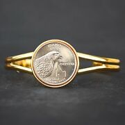 Us 2007 Idaho State Quarter Coin Gold Plated Cuff Bracelet - Beautiful