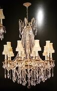 Palace Royal 10 Light Crystal Chandelier Light French Gold W Shades 30x35