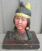 Old Vintage Chalkware Native American Indian Western Decor Carnival Prize
