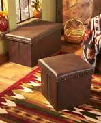 Faux Leather Classic Style Storage Ottomans Or Benches Nailhead Trim Home Decor