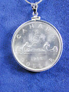 1207 Silver Canadian Voyageur 1962 Coin Pendant Necklace Coin Removable