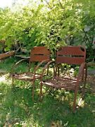 Antique 1940s Bouncer Patio Chair Set 2 Rusted Patina Art History Old Americana