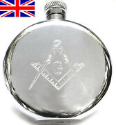 Masonic Hand Made Sheffield Pewter Hip Flask - 6oz Round With Free Engraving