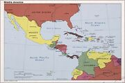 Poster Many Sizes Cia Map Of Middle America Mexico Caribbean 1986