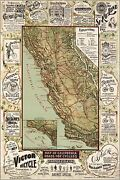 Poster Many Sizes Bicycle Road Map Of California 1895