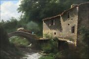 Poster Many Sizes Landscape With Water Mill And Stone Bridge Louwrens Hanedoe