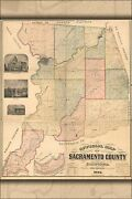 Poster Many Sizes Official Map Of Sacramento County California 1885