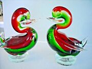 Pair Murano Art Glass Red And Green Sommerso Duck Figurines Italy On Pedestal