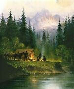 Camp In Tetons - G Harvey - Sign And Number Ltd Ed Giclee Canvas