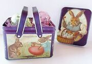 Easter Basket Tin Picnic Style Handle Vintage 1984 Bunny Decor Chein Ind. 6