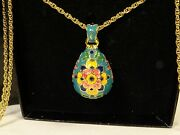 """Joan Rivers Panslovic Egg Enameled Pendant Twisted Gold Chain 30"""" Necklace Nos"""