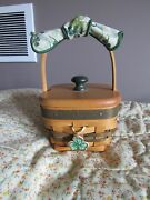 Longaberger Lots Of Luck Shamrock Basket Set With Tie On And Lid.