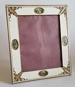 Beautiful Antique French Large Gilt Bronze Enamel Mini Paintings Picture Frame