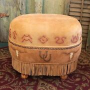 Handmade Deerskin Suede Western Junior Oval Ottoman 20andprime X 14andprime X 16andprime Any Design