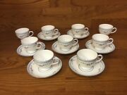 Wedgewood Rosedale China R4665 Footed Cups And Saucers 7 Sets - Excellent