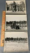 Lot Of 3 Original Large Wwii / Post Photos Us Army Michigan Governor Ceremony
