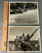 Lot Of 2 Original Large Wwii / Post Photos Us Army Artillery Infantry Browning