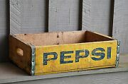 Old Vintage Wooden Yellow Pepsi Soda Pop Bottle Crate Carrier Tool Open Box