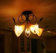 Art Deco 5 Lights Wrought Iron Chandelier And Signed Glass Shades Europe Post 1940