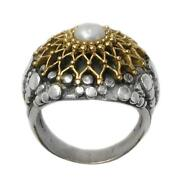 Gerochristo 2219 Solid Gold Sterling Silver With Pearl Medieval Cocktail Ring