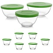 Libbey 3-pc Glass Mixing Bowl Set And 6-pc Ramekin Food Storage Containers W/lids