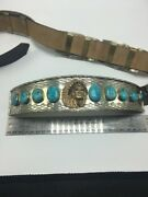 Native American Turquoise Concho Belt Nickel/ Silver Plate Hand Made One Of One