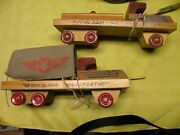 Pair Cass Wooden Trucks Overland Transport And Overland Oil Transport New Old Stok