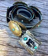 Vintage Old Pawn Sterling Silver Nevada Villa Grove Turquoise Concho Belt C1950s