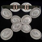 Vintage Old Pawn Concho Belt Native Style Hand Stamped Sterling Silver C60s/70s
