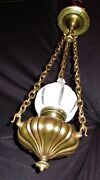 Antique French Brass Library Parlor Chandelier Ceiling Lamp Glass Shade 1930's