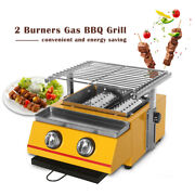 Gas Bbq Barbecue Grill Griddle Table Top Camping Smokeless Kitchen Cooking