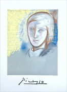 Pablo Picasso Portrait Of Marie Therese Walter Lithograph Pastel Portrait Sketch