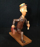 Vintage 1950s Hand Carved Wooden Wood Business Man Statue Figure Mad Men Style
