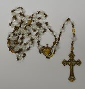 Antique Hand Carved Rock Crystal And Brass Sacred Heart Catholic Rosary