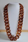 Chunky Runway Faux Tortoise Shell Plastic Necklace Woven Curbed Chain