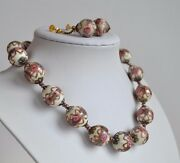 Art Deco Antique Wedding Cake Murano Glass Necklace And Earrings White Base Roses