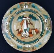Buffalo Pottery Deldare Ye Olden Days Salad Plate 1908 Signed