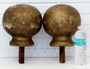 2 Monumental Antique Newel Post Wood Staircase Finial Architectural Salvage