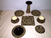 Laurie Gates American Safari Zebra Pattern Collection Black And Gold 10 Pcs.